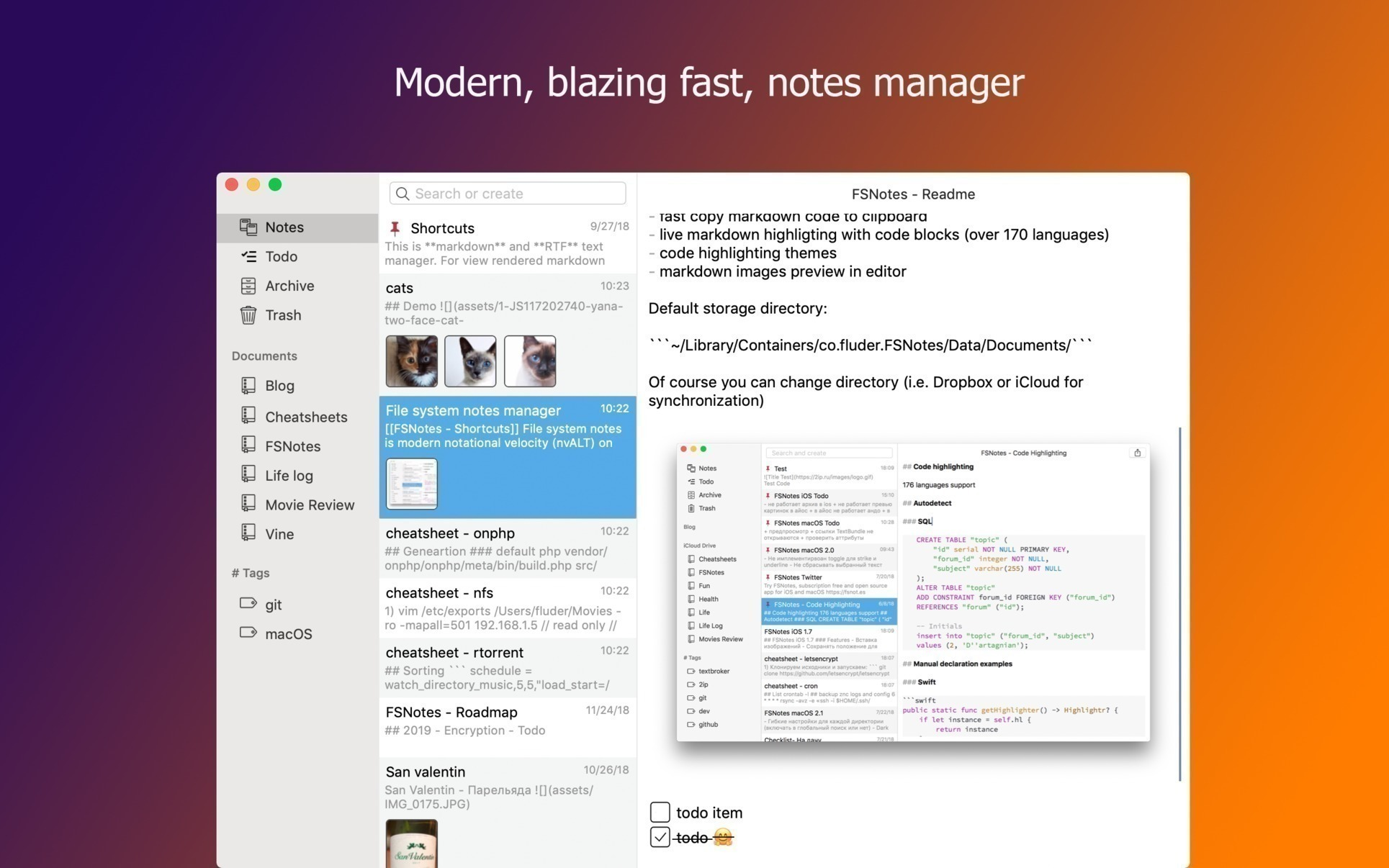 FSNotes 2 9 5 – Note manager  | macOS Apps | Mac Games | AppKed